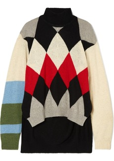 Preen Ingrid Argyle Wool-blend Turtleneck Sweater