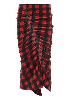 Preen Ivana Red Gingham Velour Skirt