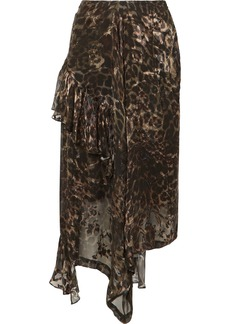 Preen Julia Ruffled Leopard-print Fil Coupé Silk-blend Chiffon Skirt