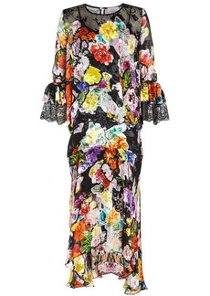 Preen Madeleine Printed Dress with Silk and Lace