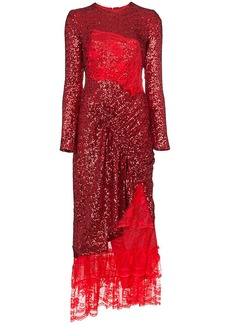 Preen Mae lace insert sequin gathered dress