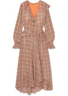 Preen Maieka Ruffled Paneled Printed Crepe De Chine Wrap Maxi Dress