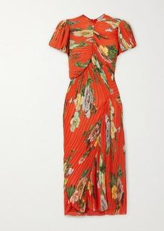Preen Meggy Floral-print Plissé-georgette Midi Dress