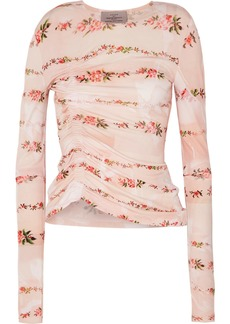 Preen Misha Ruched Floral-print Stretch-crepe Top