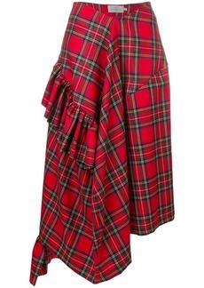 Preen Morgan tartan asymmetric skirt