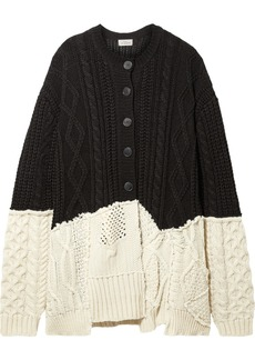 Preen Myra Paneled Cable-knit Wool-blend Cardigan