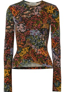 Preen Norah Ruched Floral-print Stretch-crepe Top