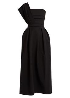 Preen By Thornton Bregazzi Ace one-shoulder pleated stretch-cady midi dress
