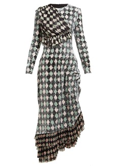 Preen By Thornton Bregazzi Addison diamond-print sequinned midi dress