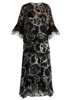 Preen By Thornton Bregazzi Adora pentacle-print devoré silk-blend dress