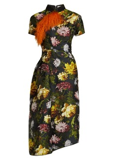 Preen By Thornton Bregazzi Alicia asymmetric floral jacquard dress