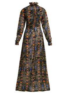 Preen By Thornton Bregazzi Ameline high-neck silk-blend devoré dress