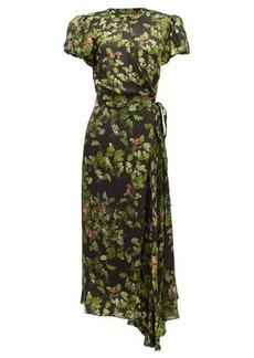 Preen By Thornton Bregazzi Anabelle forest-print satin wrap dress