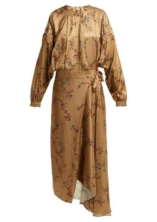 Preen By Thornton Bregazzi Angel floral-print asymmetric satin midi dress