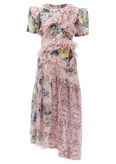 Preen By Thornton Bregazzi Anzu panelled lace-trim floral-print dress