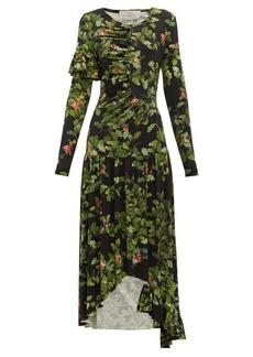 Preen By Thornton Bregazzi Ashley oak leaf-print dress
