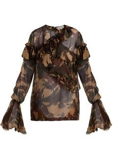 Preen By Thornton Bregazzi Bella camouflage-print silk-chiffon blouse