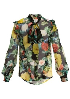 Preen By Thornton Bregazzi Billy tie-neck floral-print silk-chiffon blouse