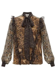 Preen By Thornton Bregazzi Blakely leopard and snake-print pussy-bow blouse