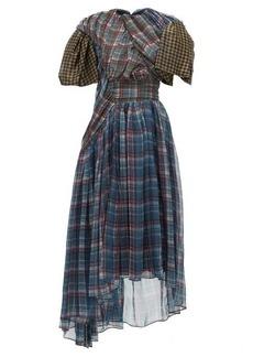 Preen By Thornton Bregazzi Brianna checked draped chiffon dress