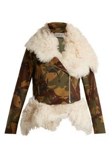 Preen By Thornton Bregazzi Camouflage-print shearling biker jacket