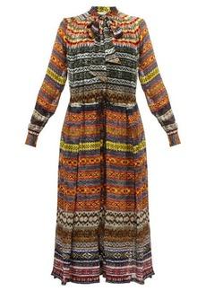 Preen By Thornton Bregazzi Caroline Fair Isle-print crepe de Chine midi dress