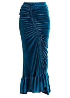 Preen By Thornton Bregazzi Catriona ruched stretch-velvet skirt