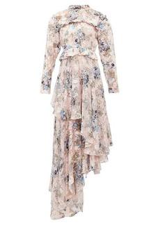 Preen By Thornton Bregazzi Caylee floral devoré-satin tiered maxi dress