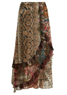 Preen By Thornton Bregazzi Clemence floral and snake-print satin devoré skirt