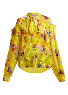 Preen By Thornton Bregazzi Cora floral-print satin-devoré blouse