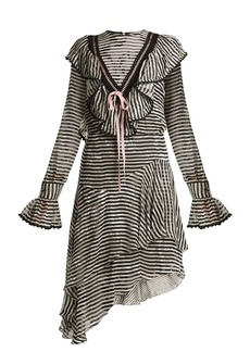 Preen By Thornton Bregazzi Corin ruffle-trimmed striped silk-devoré dress