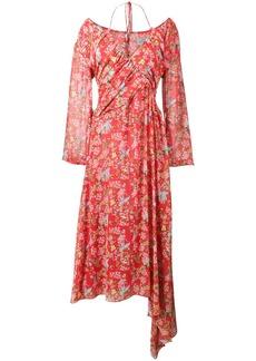 Preen Corinne Floral Print Off-Shoulder Halterneck Dress