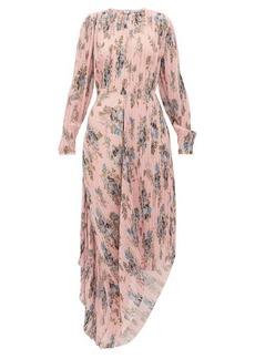 Preen By Thornton Bregazzi Delaney asymmetric floral-print plissé dress