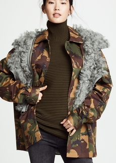 Preen By Thornton Bregazzi Dree Camo Jacket with Shearling Trim
