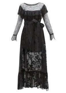 Preen By Thornton Bregazzi Eliane lace & devoré floral chiffon dress