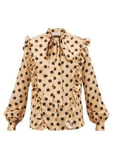 Preen By Thornton Bregazzi Elise ruffled polka dot-print satin blouse