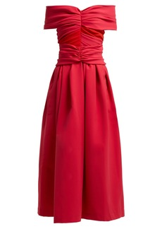 Preen By Thornton Bregazzi Ellie Ted off-the-shoulder satin midi dress
