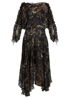 Preen By Thornton Bregazzi Ermin flower-print satin devoré silk dress