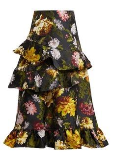 Preen By Thornton Bregazzi Esta ruffled floral-jacquard skirt