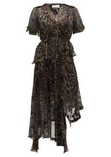 Preen By Thornton Bregazzi Esther V-neck leopard print devoré dress