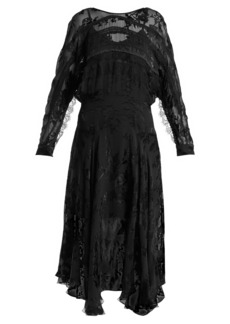 Preen By Thornton Bregazzi Eva floral-devoré handkerchief-hem dress