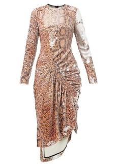 Preen By Thornton Bregazzi Gladys snake-print flip-sequinned dress