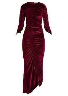Preen By Thornton Bregazzi Hitch round-neck ruched velvet dress