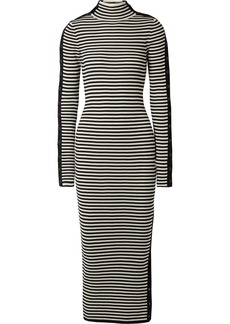 Preen Holly button-embellished ribbed merino wool dress