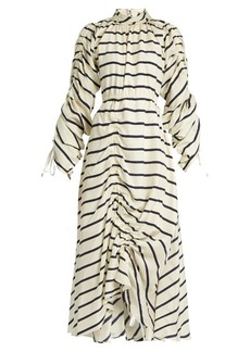 Preen By Thornton Bregazzi Hope ruched striped-silk dress