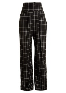 Preen By Thornton Bregazzi Ida windowpane-checked wide-leg wool trousers