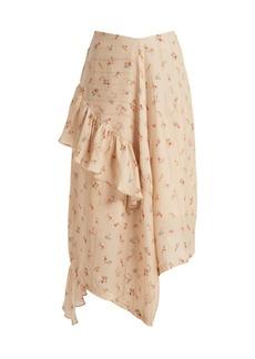 Preen By Thornton Bregazzi Jasmin silk ruffle-trim midi skirt