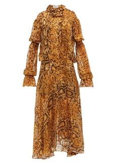 Preen By Thornton Bregazzi Jocelyn snake-print ruffled devoré midi dress