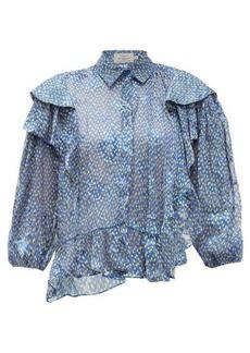 Preen By Thornton Bregazzi Kayla ruffle-trim chiffon devoré blouse
