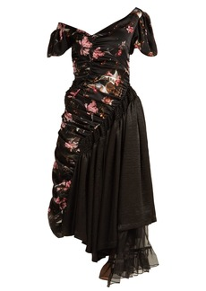 Preen By Thornton Bregazzi Kim foxglove-print silk-satin dress